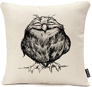 oFloral Cotton Linen Pillow Case Owl Pattern Design Throw Cushion Cover Home Sofa Decor 18 x 18 Inch Pillow Sham