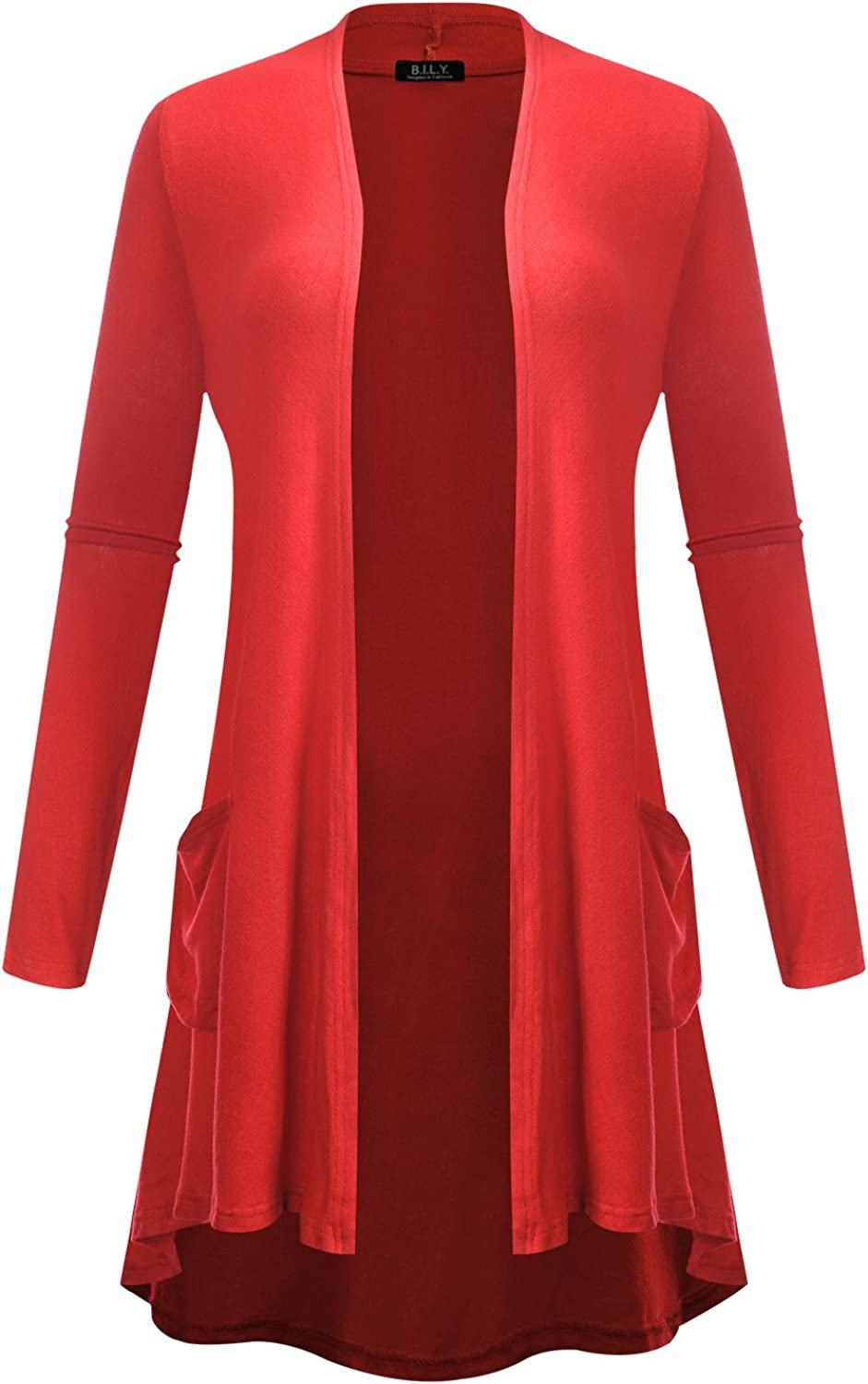 BILY Women's Open Front HighLow Long Sleeve Front Pockets Cardigan Coral Small