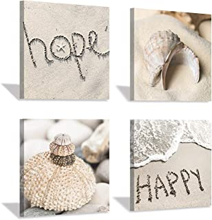 Coastal Shells Canvas Wall Art: Beach Sand with Words Artwork Painting Print for Wall Decor for Dining Room (12''x12''x4pcs)