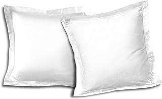 HOME LINGE PASSION Lot De 2 Taies D'Oreiller Volant Plat Piqué 57 Fils, Coton, Blanc, 63x63 cm