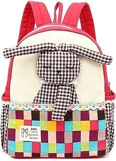 Mochila para niños bebés Mochilas para niños con Conejo Mascotas para guardería Niños (Roja)