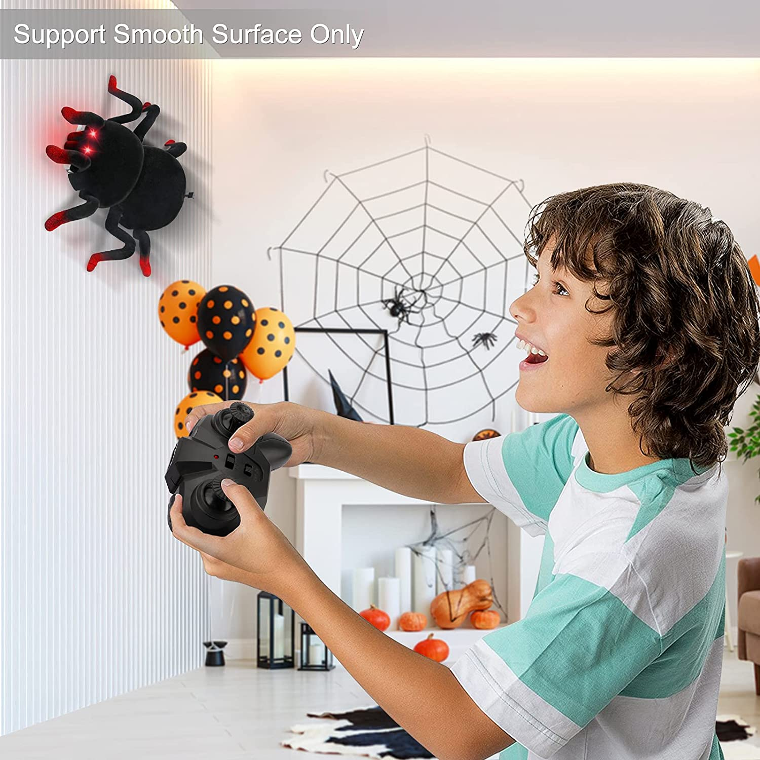 Wall Climbing Remote Control Spider - Boy with Spider and the controller