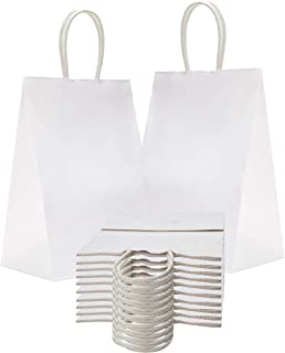 Paper Shopping Bags 5.25 x 3.75 x 8.25 Kraft Paper Bags 5 1/4 x 3 3/4 x 8 1/4 by Amiff. Pack of 25 White Retail Bags. Kraft Carrier Bags with Handles for Shopping, Merchandise and Grocery. Reusable.