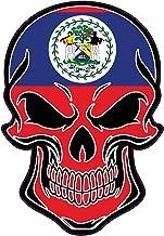 WickedGoodz Belize Flag Skull Vinyl Decal - South American Bumper Sticker - Proud Belize Gift