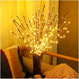 Swyss 3 Pack Warm White Lighted Twig Branches LED Lights Artificial Tree Willow Branches Lamp for Home Holiday Party Decoration Decor Battery Operated - 30 Inches 20 LED (3 Pack)