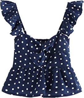 Women's Sleeveless Twist Knot Polka Dot Ruffle Hem Crop Tank Top Blouses