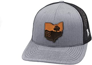 Ohio 'The Buckeye' Leather Patch Hat Curved Trucker