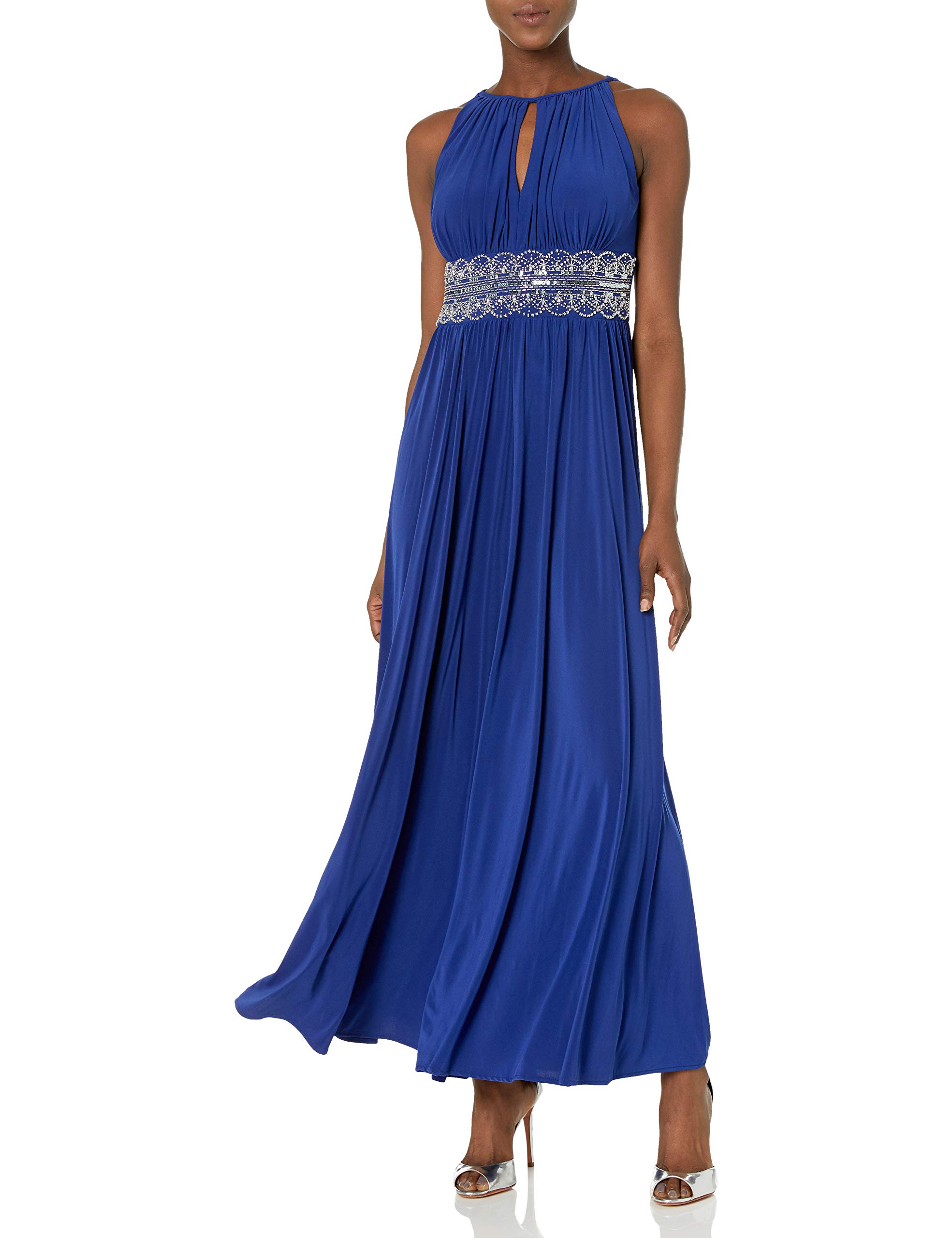 Available at Amazon: R&M Richards Women's Halter Gown with Beaded Waist