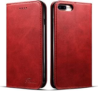 iPhone8Plus ケース 手帳型 iPhone 7 Plus ケース 手帳 - Rssviss アイフォン8プラスケース マグネット カード収納 Qi充電対応 横置き機能 PUレザー[iPhone 7 Plus/iPhone 8 Plus 5.5 inch 適応] W1 レッド
