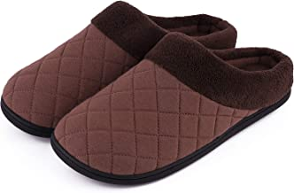 Men's Comfort Quilted Memory Foam Fleece Lining House Slippers Slip On Clog House Shoes