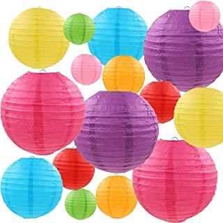 "LURICO 16 Pcs Colorful Paper Lanterns (Multicolor,Size of 4"", 6"", 8"", 10"").."