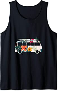 Colorful flowers hippie lifestyle surfer van graphic image Tank Top