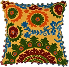 Trade Star Exports Pom Pom Cushion Covers 16x16, Suzani Pillow Covers, Bohemian Pillow Cases Decorative, Indian Cushions Pillow