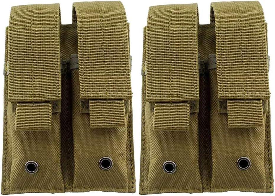 Pistola mag Bolsa, Bolsa De La Revista Doble Pistola 600D Tela De Nylon Magazine Tactical Soporte para 1911 Glock 9Mm, 2 PCS,Marrón