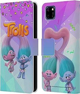 Head Case Designs Licenciado Oficialmente Trolls Satén y Chenilla Pack Snack Carcasa de Cuero Tipo Libro Compatible con Hu...