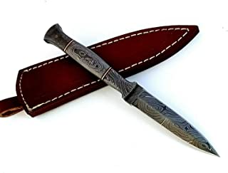 Custom Hand Forged Damascus Steel Combat and Tactical Boot Knife with Damascus Handle