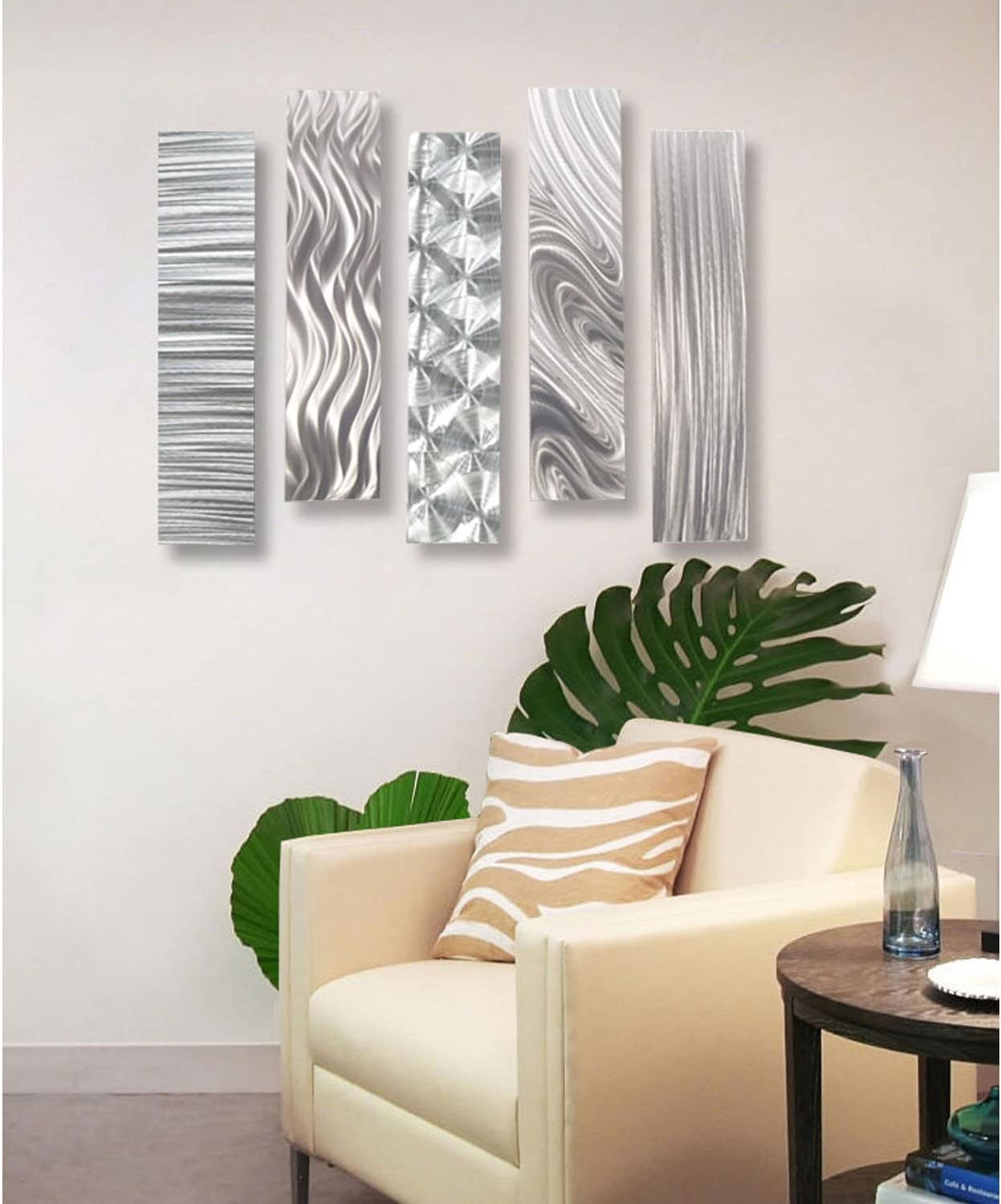Selling and selling Statements2000 Silver Metal Wall Art Decor Five Max 62% OFF of 24