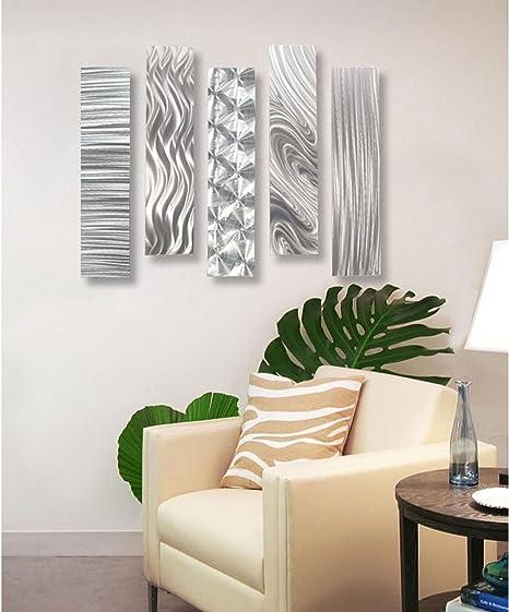 "Amazon.com: Statements2000 Silver Metal Wall Art Decor, Set of Five 24"" x  6"" Wall Art Sculptures, Contemporary Décor by Jon Allen Metal Art : Home &  Kitchen"
