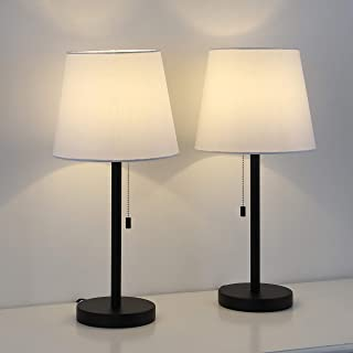Table Lamp Set of 2, Bedside Lamps for Bedroom, Metal Desk Lamps with White Fabric Shade for Nightstand, Dressers, Coffee Table, Study Desk
