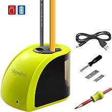Sacapuntas eléctrico, Tepoinn, sacapuntas automático, doble agujero, batería y USB, funciona con cuchillas de repuesto para aula, oficina y hogar