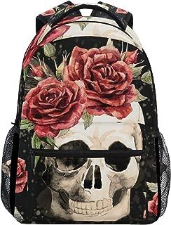 MOFEIYUE Gothic Skull Rose Flower Backpacks College School Bag Shoulder Casual Travel Daypack Hiking Camping