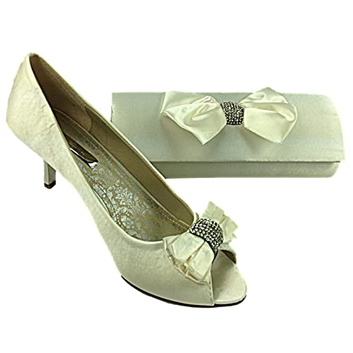 86c1ce28d86ad5 Ladies Ivory Diana Satin Diamanté Bow Kitten Heel Wedding Evening Sandal  Peep Toe Shoe