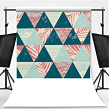 Seamless Exotic Pattern with Palm Leaves on Geometric Background Theme Backdrop Photography Polyester Backdrop,039506,5x7ft