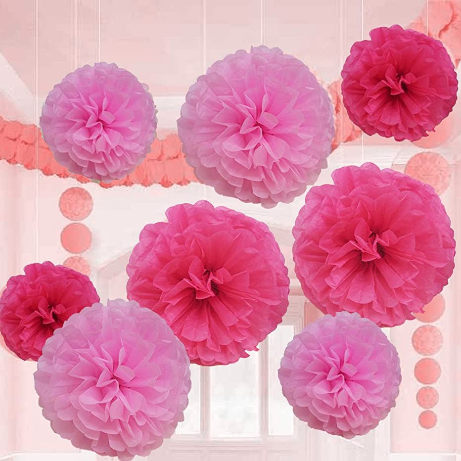 Pink Tissue Paper Flower Pom Pom Balls. 12 and 14 Inch Holiday Party Favor Flower Balls Hanging Decor Party Decoration. 8 Pack. Great DIY Kit For Parties,Birthdays,Weddings,Bridal Showers Etc.