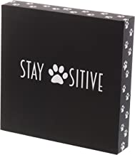 """Barnyard Designs Stay Positive Cat and Dog Box Sign Rustic Wood Motivational and Inspirational Quote Wall Decor 8"""" x 8"""""""