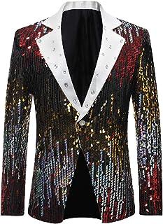 Cloudstyle Men's Slim Fit Suit Jacket Casual One Button Shiny Sequin Party Wedding Blazer