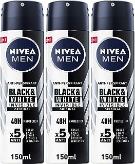 NIVEA MEN Black & White Invisible Original, Antiperspirant for Men, Spray 150 ml, Pack of 3