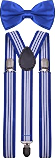 BODY STRENTH Mens Suspenders with Bow Tie Set Y Shape Elastic