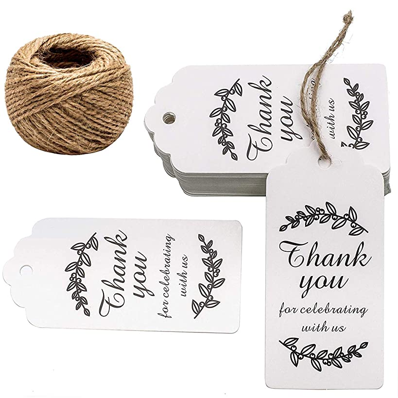 Paper Gift Tags Thank You for Celebrating with Us, Whaline 100 Pcs Paper Hang Tag for Wedding Party Favors, Baby Shower with 100 Feet Natural Jute Twine (Leaves White)