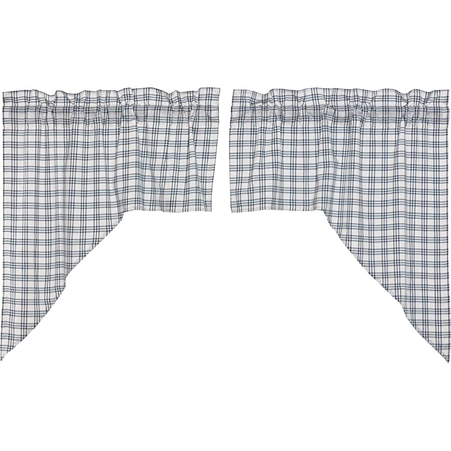 VHC Brands Farmhouse Kitchen Curtains Miller Farm Charcoal Plaid Rod Pocket Cotton Hanging Loops Swag Pair Blue Denim
