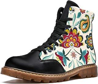 LORVIES Imprimé Floral Boho Ethnique rétro Vintage Bottes d'hiver Chaussures Montantes en Toile à Lacets pour Hommes