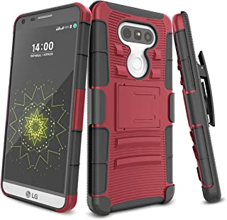 LG G5 Case,TILL [Knight Armor] Heavy Duty Full-Body Rugged Holster Resilient Armor Case [Belt Swivel Clip][Kickstand] Combo Cover Shell for LG G5 Phone AT&T T-Mobile Sprint Verizon Unlocked [Red]