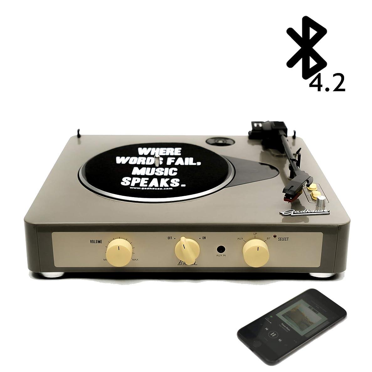 悪魔レモン歌Gadhouse Brad ヴィンテージレコードプレーヤー ブルートゥースでの3倍速ターンテーブル、ステレオスピーカー、ヘッドフォンジャック、スマートフォン用のAUXインプット、RCAラインアウトジャック (Grey)
