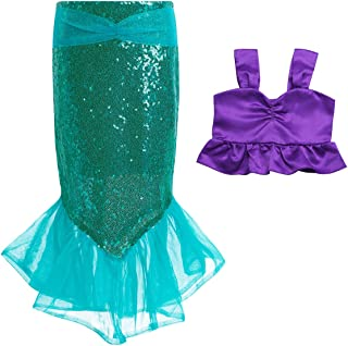 Girls Little Mermaid Tail Costume Halloween Cosplay Birthday Party Clothes Outfits Sequins Tops with Skirt