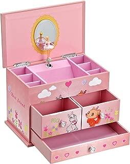 SONGMICS Ballerina Music Jewelry Box for Little Girls 3 Drawers Lovely Rabbit and Fox Pink UJMC004