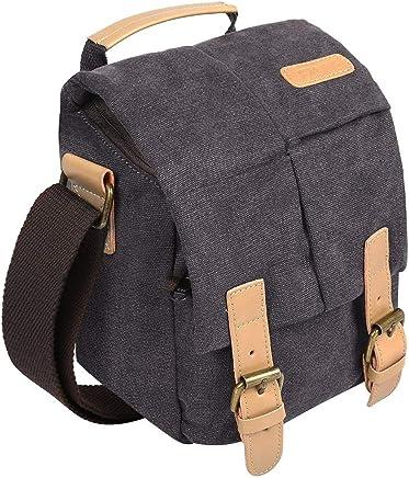 S-ZONE Vintage Small Waterproof Canvas Leather Trim DSLR SLR Shockproof Camera Shoulder Messenger Bag