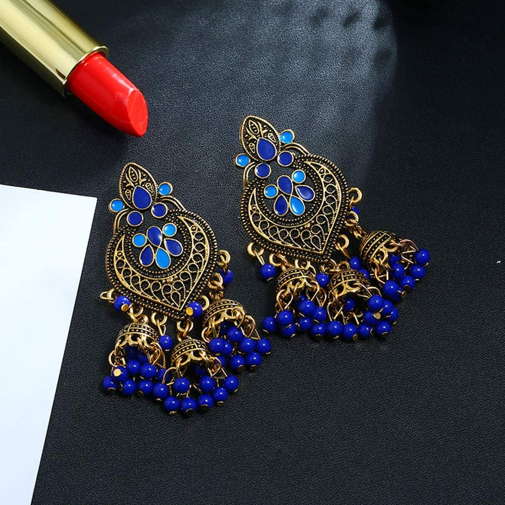 Women's Bohemian Heart Shape Beaded Tassel Ear Dangle | Ear Stud Ear Hoop Earrings Statement Jewelry Gift