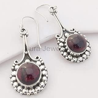 925 Sterling Silver Love Days Earrings Hippie Ethnic Earrings Gift Jewelry Beautiful Red Jewelry Wedding /& Engagement Jewelry Garnet Earrings January Birthstone Filigree Statement Earrings