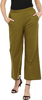 Janasya Women's Green Cotton Plain Straight Pant