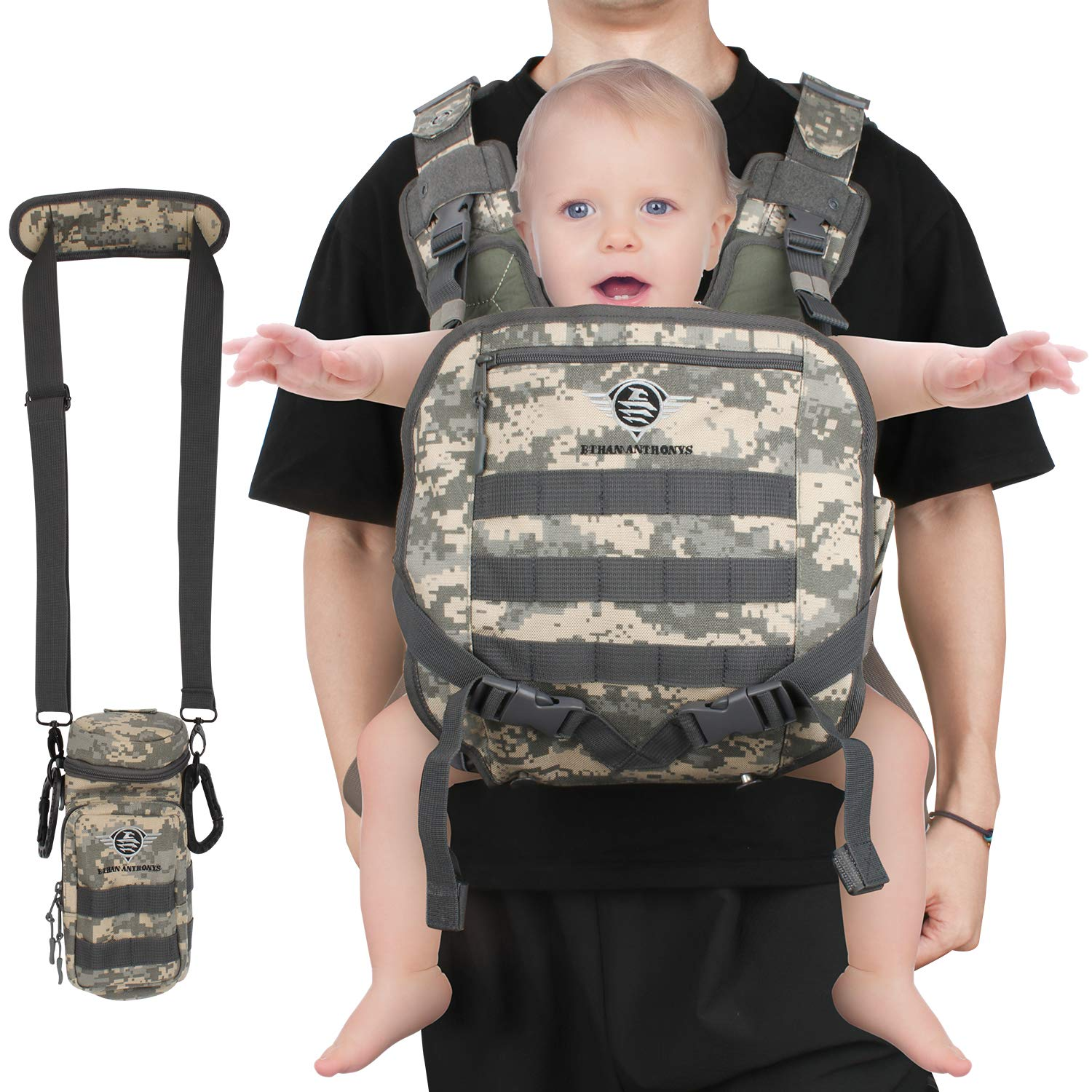 ETHAN ANTHONYS Military Inspire Baby Carrier – 8-35Lbs Baby Gear for Dads – Infant Baby Carrier with Bottle Holder – Comfortable and Sturdy Design – Multipurpose and Versatile