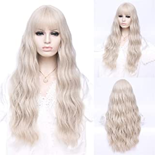 Hairpieces Long Cosplay Wigs for Women Water Wave Pink Blonde Hair Wig Synthetic Wig With Bangs Heat-resistant Female Fals...