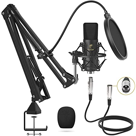 Microphone à Condensateur, TONOR Micro Cardioïde XLR Professionnel avec Bras T20, Support Antichoc, Filtre Anti-pop pour Enregistrement, Podcasting, Voix Off, Streaming, Home-Studio, YouTube (TC20)