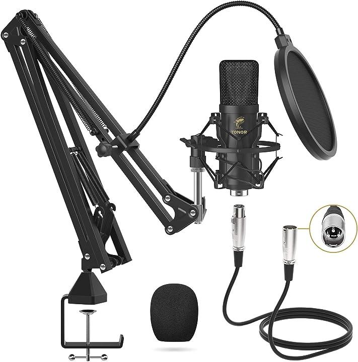 Microfono a condensatore, tonor microfono professionale cardioid xlr con braccio t20, supporto antiurto TC20