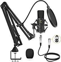 XLR Condenser Microphone, TONOR Professional Cardioid Studio Mic Kit with T20 Boom Arm, Shock Mount, Pop Filter for Record...