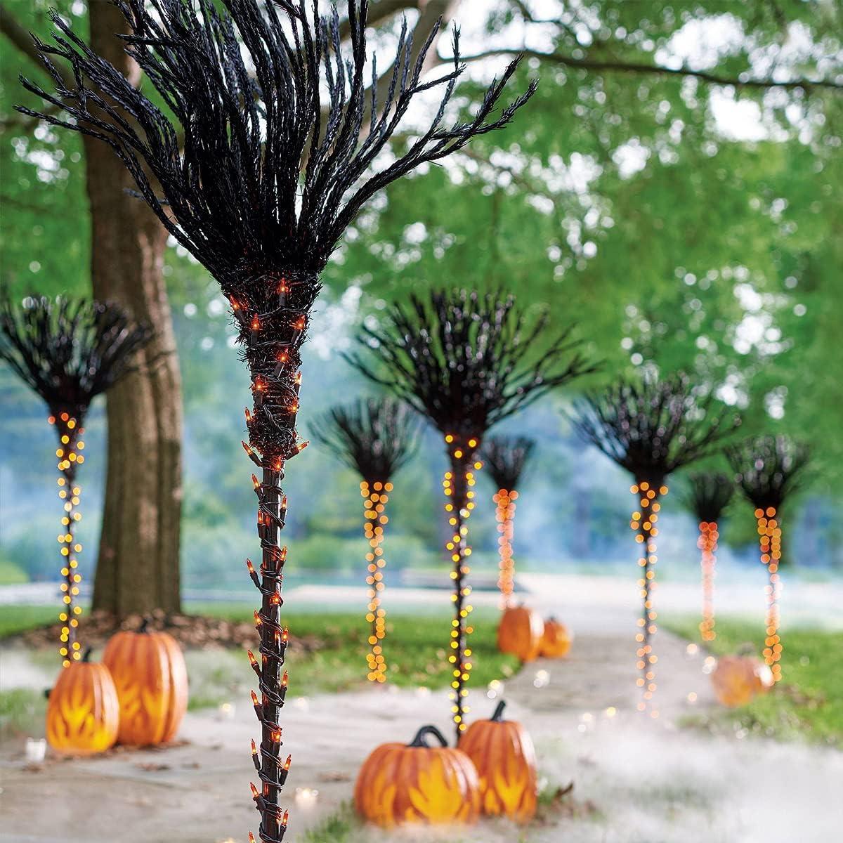 Tenacitee Halloween Pre-Lit Broomstick Spooky Lu Pathway Markers New Limited price sale mail order