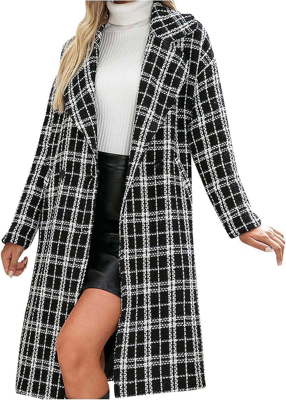 DVCB Women Black Long Plaid Coat Fashion Lapel Jacket Casual Large Size Windbreaker Single Breasted Overcoat